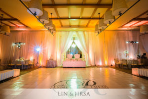 wall draping wedding reception