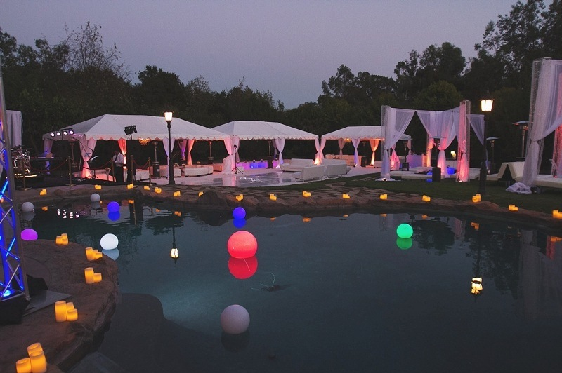 Pool decor, decor rental, party rentals